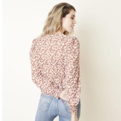 Top Spring Roses roze wit witte dames top truitjes lange mouwen romantisch v hals kleding trendy kopen bloemen blouse achter