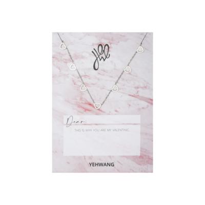 Valentijn Kaart & Ketting Open Hart zilver zilveren kettingen hartjes bedels kado yehwang sieraden kopen