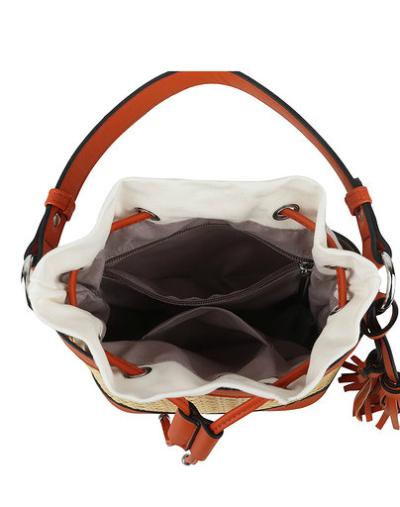 Buideltas Classy Braided bruin bruine schoudertassen rieten gevlochten detail trendy tassen tas kopen bestellen open