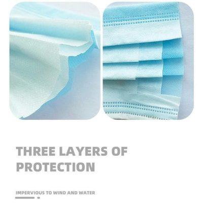 Mondkapje 3 hypo-allergene lagen in non-woven materiaal met elastieken bandjes anti corona blauw verplicht