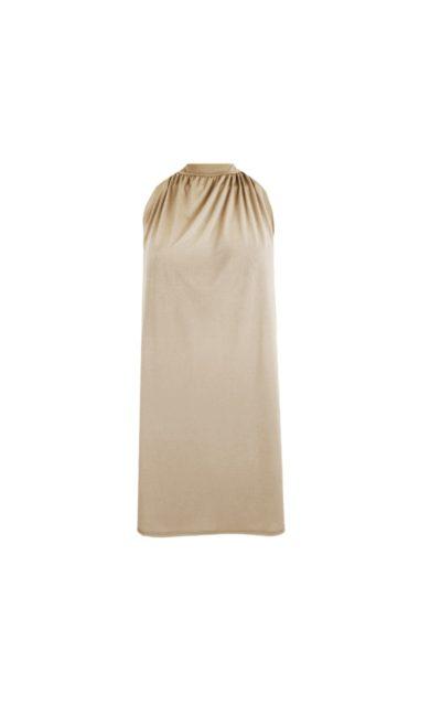 Halterjurk Paige beige taupe halter jurk korte mouwen trendy dames jurken fashion bestellen kopen