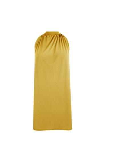 Halterjurk Paige okergeel okergele halter jurk korte mouwen trendy dames jurken fashion bestellen kopen