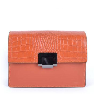 Lederen-Schouddertas-Classy-Croco-oranje orange-trendy-stevige-schoudertassen-croco-klep-chique-dames-tasssen-leder-kopen-bestellen