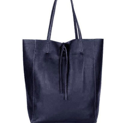 Leren-Handtas-Simple-donker blauw blauwe-shoppers-handtassen-leren-shopper-dames-tassen-luxe-trendy-kopen