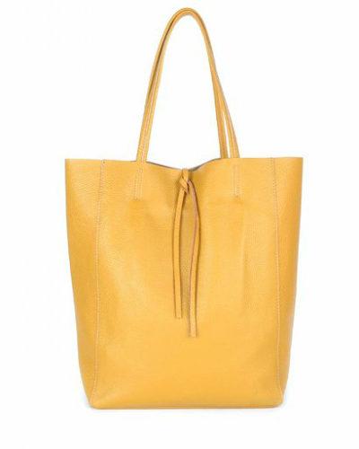 Leren-Handtas-Simple- oranje orange-shoppers-handtassen-leren-shopper-dames-tassen-luxe-trendy-kopen