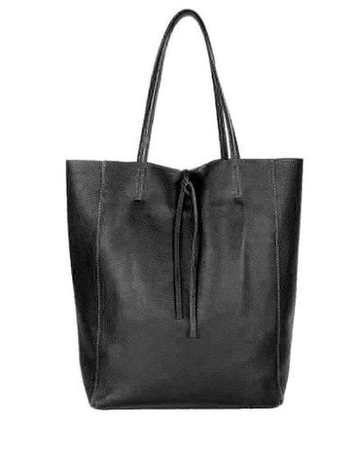 Leren-Handtas-Simple-zwart zwarte-shoppers-handtassen-leren-shopper-dames-tassen-luxe-trendy-kopen