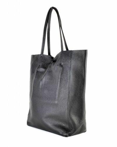 Leren-Handtas-Simple-zwart zwarte-shoppers-handtassen-leren-shopper-dames-tassen-luxe-trendy-kopen side