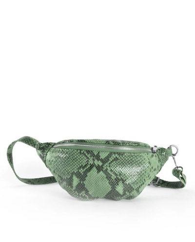 Leren-Heuptas-Snakes-groen groene glans leren slangenprint heuptasjes-fannypack-beltbag-riemtassen-leder-leer-heuptassen-kopen-trendy