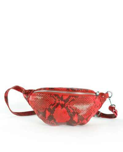 Leren-Heuptas-Snakes-rood rode glans leren slangenprint heuptasjes-fannypack-beltbag-riemtassen-leder-leer-heuptassen-kopen-trendy