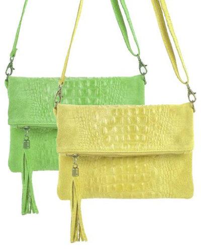 Leren-Kroko-Clutch-Must-geel gele groen groene -lederen-leer-clutches-schoudertassen-met-kwastje-ritssluiting-musthave-leren-tassen-bestellen-600x600