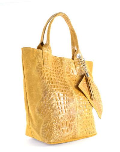 Leren Shopper Happy Croco geel gele dames tassen shoppers kwastje lederen krokoprint shoppers kopen giuliano side