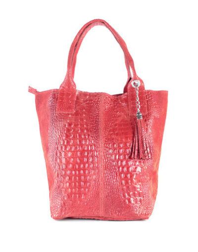 Leren Shopper Happy Croco rood rode dames tassen shoppers kwastje lederen krokoprint shoppers kopen giuliano