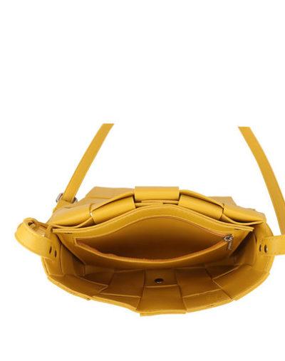 Schoudertas Big Braided geel gele trendy schoudertassen gevlochten motief stoere hippe tassen kopen bestellen open