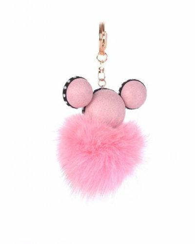 Sleutelhanger Mickey roze pink wollen tassenhanger sleutelhangers met mickey mouse oortjes musthave fashion
