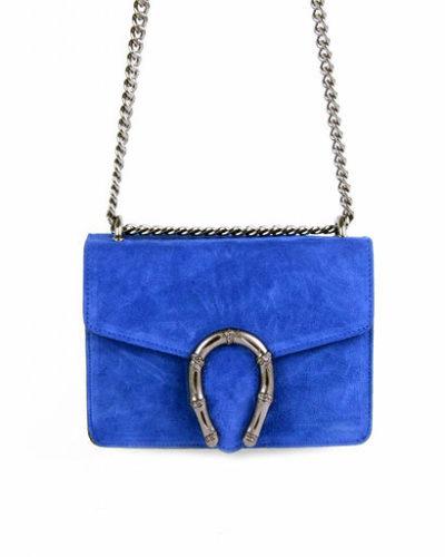 Suede-Tas-Hoefijzer- blauw blauwe-kleine-leren-schoudertassen-met-kettinghengsel-en-hoef-ijzer-sluiting-musthave-giuliano-tas-