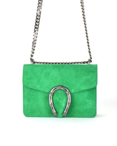 Suede-Tas-Hoefijzer-groen groene-kleine-leren-schoudertassen-met-kettinghengsel-en-hoef-ijzer-sluiting-musthave-giuliano-tas-