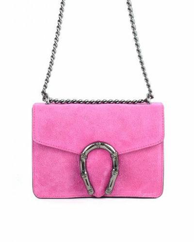 Suede-Tas-Hoefijzer-roze pink-kleine-leren-schoudertassen-met-kettinghengsel-en-hoef-ijzer-sluiting-musthave-giuliano-tas-
