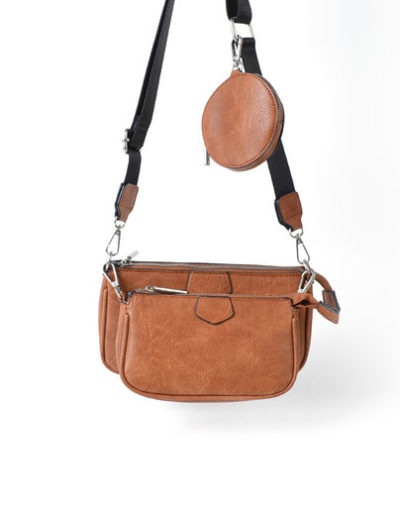 Tas Trio Pouch bruin bruinr drie losse tasjes kunstleder look a like 3 delige tassen kopen bestellen trendy tassen online