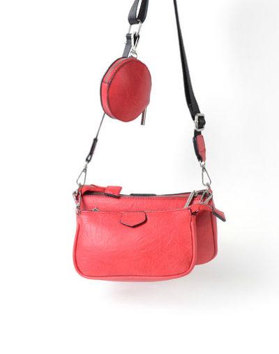 Tas Trio Pouch rood rode drie losse tasjes kunstleder look a like 3 delige tassen kopen bestellen trendy tassen online