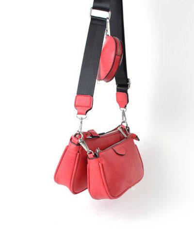 Tas Trio Pouch rood rode drie losse tasjes kunstleder look a like 3 delige tassen kopen bestellen trendy tassen online side