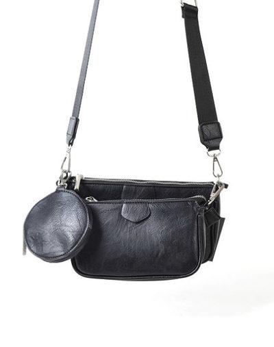 Tas Trio Pouch zwart zwarte drie losse tasjes kunstleder look a like 3 delige tassen kopen bestellen trendy tassen online
