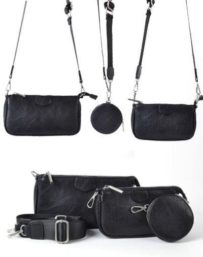 Tas Trio Pouch zwart zwarte drie losse tasjes kunstleder look a like 3 delige tassen kopen bestellen trendy tassen online set