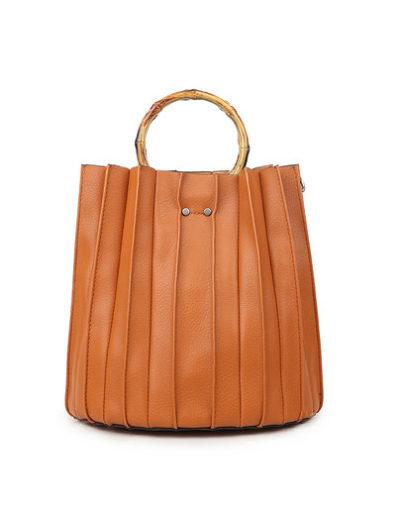 Bag in Bag Handtas Bamboe bruin bruine handtassen dames met losse etui tas achter rond bamboe handvat waaier model kopen