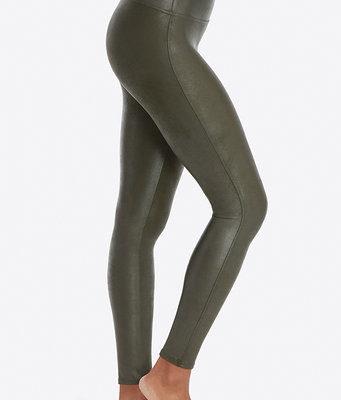 Groene Leatherlook-Legging-groen legergroen army green-dames-leggings-leder-glans-broeken-bestellen pu