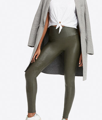Groene Leatherlook-Legging-groen legergroen army green-dames-leggings-leder-glans-broeken-kopen-bestellen pu