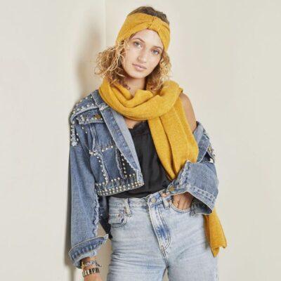 Haarband Cozy geel gele haarbanden hoofdbanden wollen warm gebreide banden voor haaraccessoires kopen