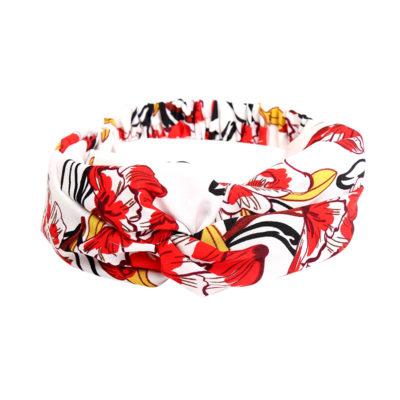 Haarband Happy Flowers wit witte haarband rode rood gele bloemen print dames haaraccessoires haar trends vrouwen headband