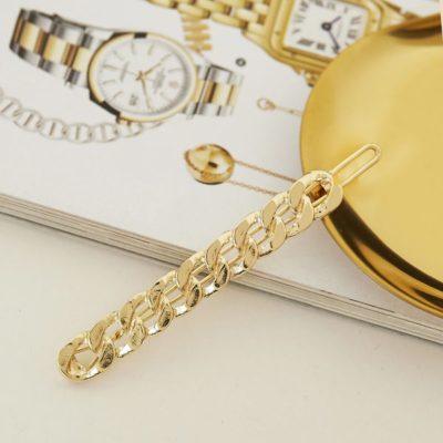 Haarclip Metal Chain goud gouden trendy haarpinnen haarclips haaraccessoires dames ketting resin trendy accessoires kopen bestellen