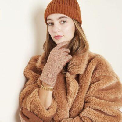 Handschoenen Dot bruine bruin warme wollen handschoen wanten kopen bestellen winter