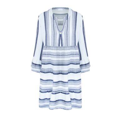 Jurk Greece Blauw blauwe witte dames jurken boho gestreepte jurk dames kleding zomer trendy fashion kopen bestellen