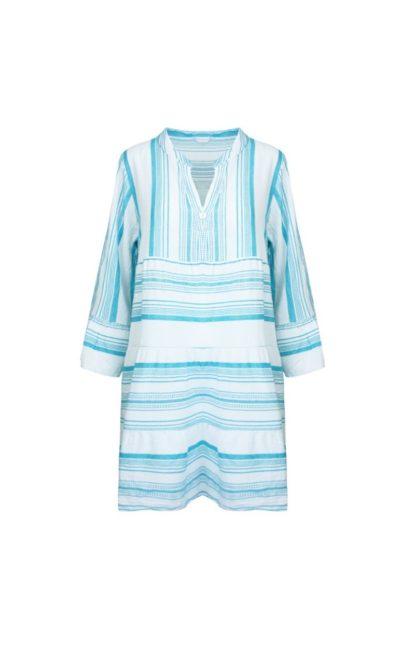 Jurk Greece turquoise mint witte dames jurken boho gestreepte jurk dames kleding zomer trendy fashion kopen bestellen
