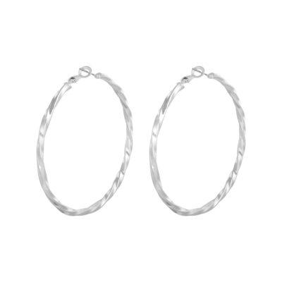 Oorbellen Creole Hoops Gemma zilver zilveren grote dames oorbellen creolen sieraden rvs gedraaide oorbel kopen