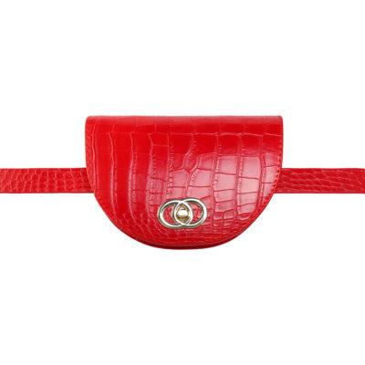 Schouder & Beltbag Perfect Croco rood rode gold trendy riemtassen fannypack buideltasjes met gouden schakelketting en gesp festival fashion kopen