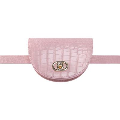 Schouder & Beltbag Perfect Croco roze pink gold trendy riemtassen fannypack buideltasjes met gouden schakelketting en gesp festival fashion bestellen