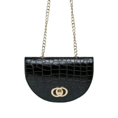 Schouder & Beltbag Perfect Croco zwart zwarte trendy riemtassen fannypack buideltasjes met schakelketting festival fashion bestellen