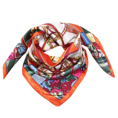 Sjaaltje Silky Beauty oranje orange multi gekleurde print dames sjaals haaraccessoires zijde silk kopen bestellen