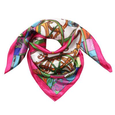 Sjaaltje Silky Beauty roze multi gekleurde print dames sjaals haaraccessoires zijde silk kopen bestellen