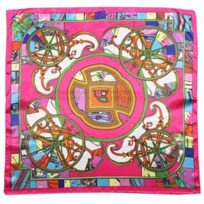 Sjaaltje Silky Beauty roze multi gekleurde print dames sjaals haaraccessoires zijde silk kopen bestellen details