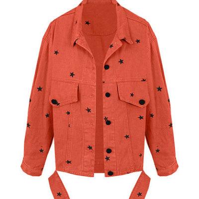 Spijkerjas-Oversized-Black-Stars-koraal-rood-roze-korte-grote-boyfriend-spijkerjassen-sterren-print-dames-spijkerjasjes-jackets-kopen nova stars oversized