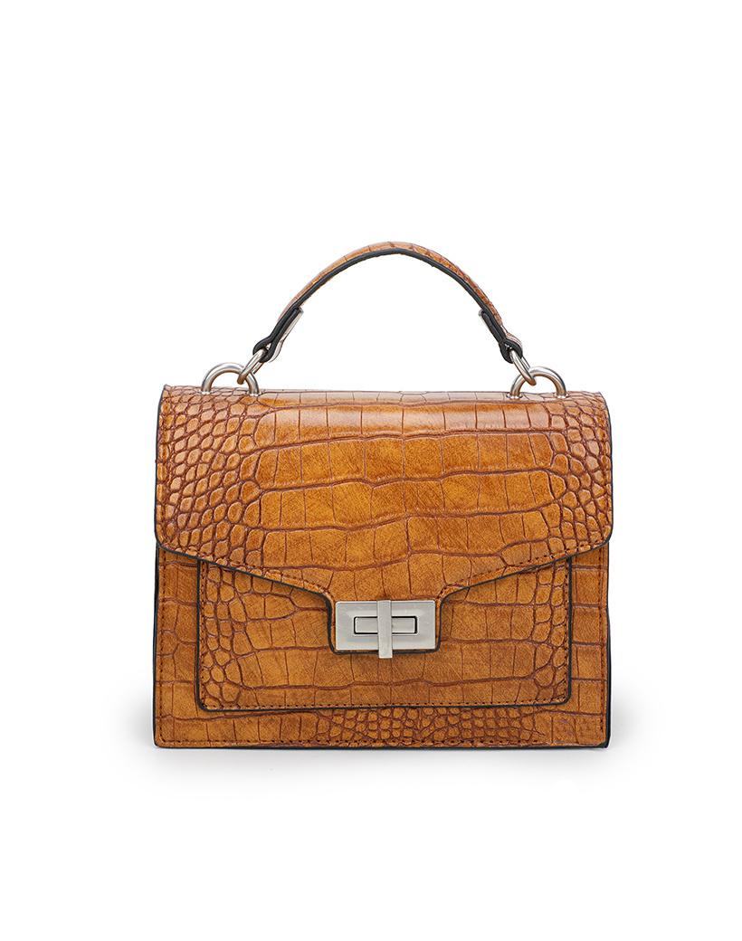 Tas Classy Croco bruin bruine tassen tasjes handtassen ketting hengsel schoudertassen kroko print dokterstas kopen bestellen