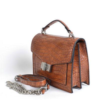 Tas Classy Croco bruin bruine tassen tasjes handtassen ketting hengsel schoudertassen kroko print dokterstasje kopen bestellen