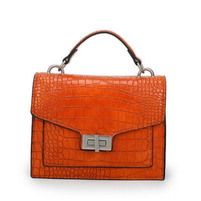 Tas Classy Croco oranje orange tassen tasjes handtassen ketting hengsel schoudertassen kroko print dokterstasje kopen bestellen