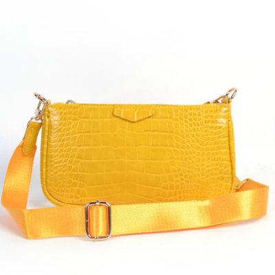Tas-Trio-Pouch Croco geel gele-drie-losse-tasjes-kunstleder-look-a-like-3-delige-croco tassen-kopen-bestellen-trendy-tassen-onlin