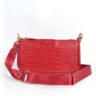 Tas-Trio-Pouch Croco rood rode -drie-losse-tasjes-kunstleder-look-a-like-3-delige-croco tassen-kopen-bestellen-trendy-tassen-onlin