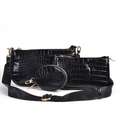 Tas-Trio-Pouch Croco zwart zwarte-drie-losse-tasjes-kunstleder-look-a-like-3-delige-croco tassen-kopen-bestellen-trendy-tassen-onlin