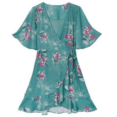 Jurk Silk Blossems blauw blauwe trendy dames jurken met roze bloemen print jurkjes dresses kopen bestellen
